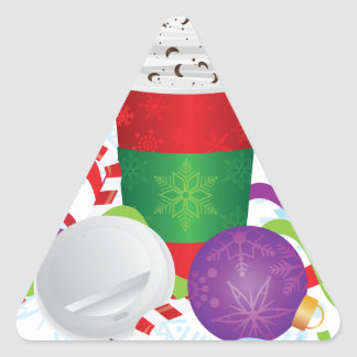 Christmas Espresso Drink To Go Cup Triangle Sticker