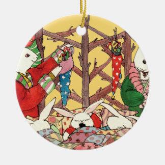 Christmas Eve Bunnies Double-Sided Ceramic Round Christmas Ornament