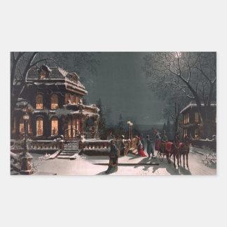 Christmas Eve by J. Hoover - Vintage Christmas Rectangular Sticker