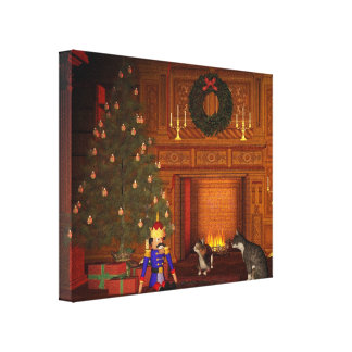 Christmas Eve Cats by the Fire Canvas Print