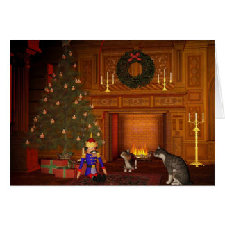 Christmas Eve Cats by the Fire Card