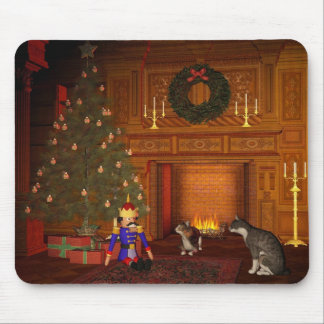 Christmas Eve Cats by the Fire Mouse Pad