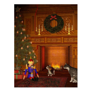 Christmas Eve Cats by the Fire Postcard