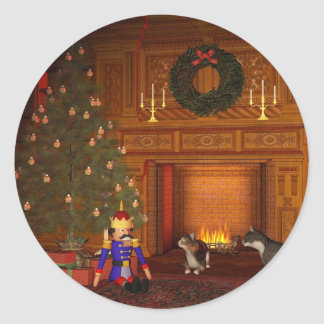 Christmas Eve Cats by the Fire Sticker