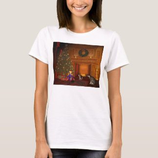 Christmas Eve Cats by the Fire T-Shirt