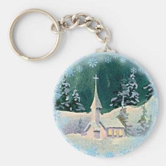 CHRISTMAS EVE CHURCH by SHARON SHARPE Keychain