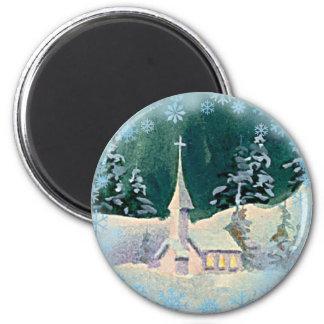 CHRISTMAS EVE CHURCH by SHARON SHARPE Magnet