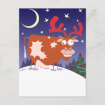 Christmas Eve Cow Holiday Postcard