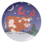 Christmas Eve Cow Party Plate