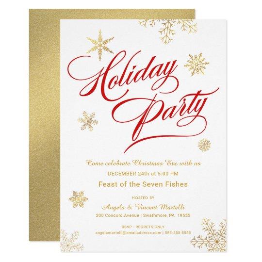 Christmas Eve Dinner Party Elegant Red Gold Invitation
