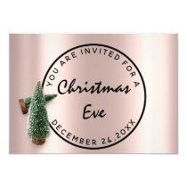 Christmas Eve Holiday Dinner Rose Green Stamp Invitation