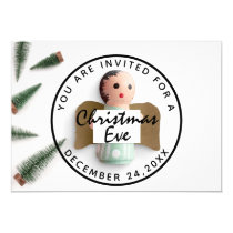 Christmas Eve Holiday Dinner White Green Angel Invitation