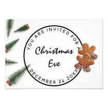 Christmas Eve Holiday Dinner White Green Ginger Invitation