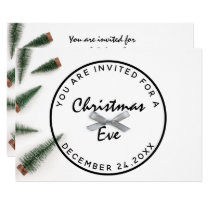 Christmas Eve Holiday Dinner White Green Gray Bow Invitation