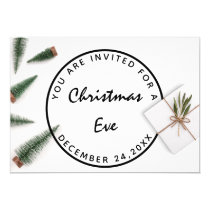 Christmas Eve Holiday Dinner White Green Gray Gift Invitation