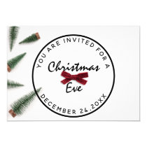 Christmas Eve Holiday Dinner White Green Red Bow Invitation