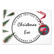 Christmas Eve Holiday Dinner White Green Red Glass Invitation