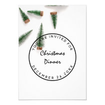 Christmas Eve Holiday Dinner White Green Simply Invitation