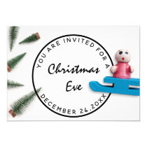 Christmas Eve Holiday Dinner White Green Sledge Invitation