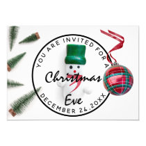 Christmas Eve Holiday Dinner White Green Snowman Invitation