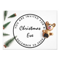 Christmas Eve Holiday Dinner White Green Wood Bear Invitation
