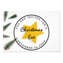 Christmas Eve Holiday Dinner White Green Wood Invitation