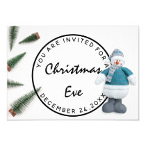 Christmas Eve Holidays Dinner White Blue Snowman Invitation