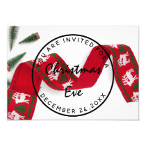 Christmas Eve Holidays Dinner White Green Ribbon Invitation