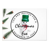 Christmas Eve Holidays Dinner White Green Snowman Invitation
