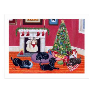 Christmas Eve Labradors Postcard