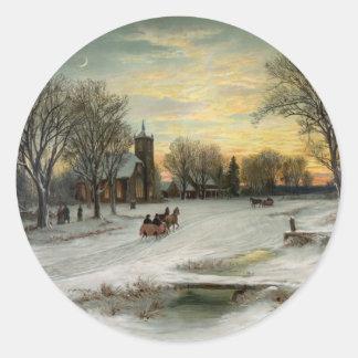 Christmas Eve Night Classic Round Sticker