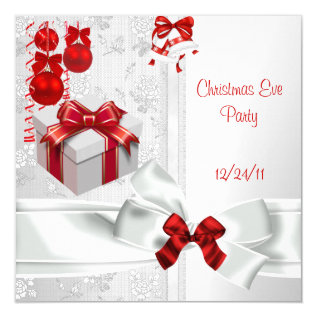 Christmas Eve Party Elegant Lace White Red Ribbon Card at Zazzle