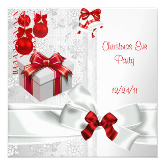 Christmas Eve Party Elegant Lace White Red Ribbon Invitation