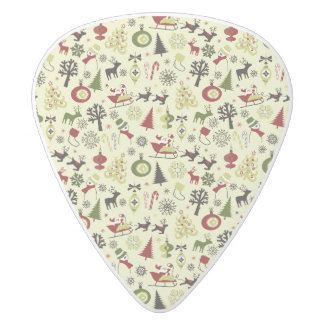 Christmas Eve Pattern White Delrin Guitar Pick