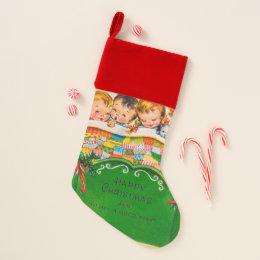 Christmas eve retro Vintage kids stocking
