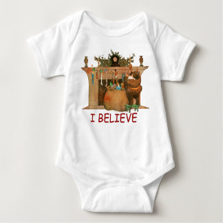 Christmas Eve Santa Claus Fireplace Baby Bodysuit