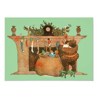 Christmas Eve Santa Claus Fireplace Card