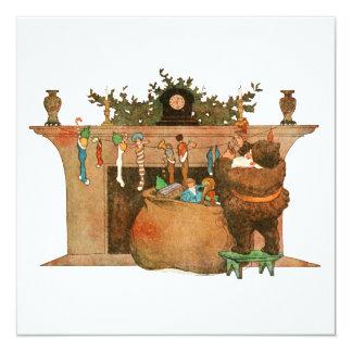 Christmas Eve Santa Claus Fireplace 5.25x5.25 Square Paper Invitation Card