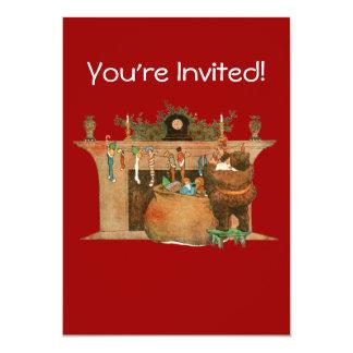 Christmas Eve Santa Claus Fireplace 5x7 Paper Invitation Card