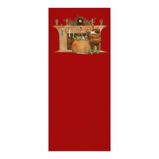 Christmas Eve Santa Claus Fireplace 4x9.25 Paper Invitation Card
