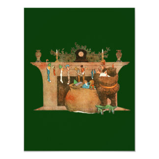 Christmas Eve Santa Claus Fireplace 4.25x5.5 Paper Invitation Card