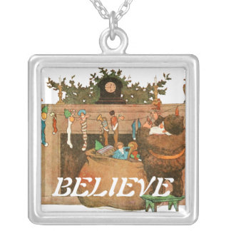 Christmas Eve Santa Claus Fireplace Square Pendant Necklace