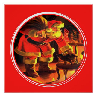 Christmas Eve Santa Claus with Cat Poster