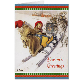 Christmas Eve Sleigh Ride Vintage Card