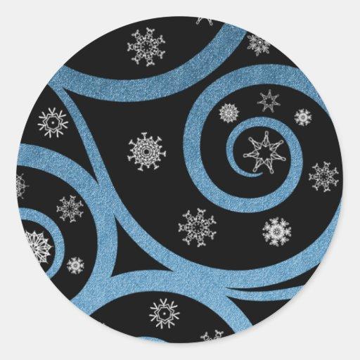 Christmas Eve Snow Swirl Stickers