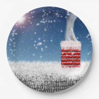 Christmas Eve Snowy Winter Chimney Rooftop Paper Plate