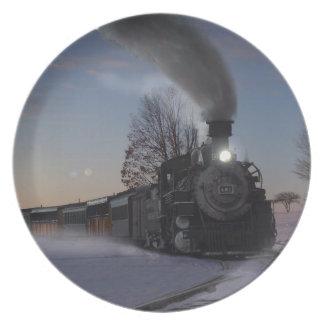 Christmas Eve Train Melamine Plate