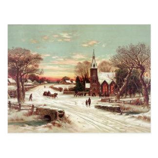 Christmas Eve Winter Scene postcard