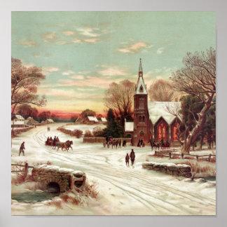 Christmas Eve Winter Scene Poster
