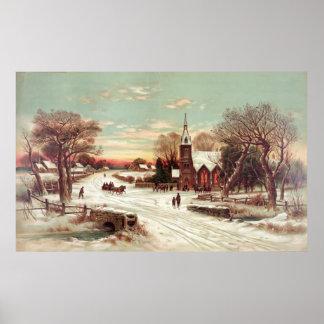 """Christmas Eve Winter Scene"" poster/print Poster"